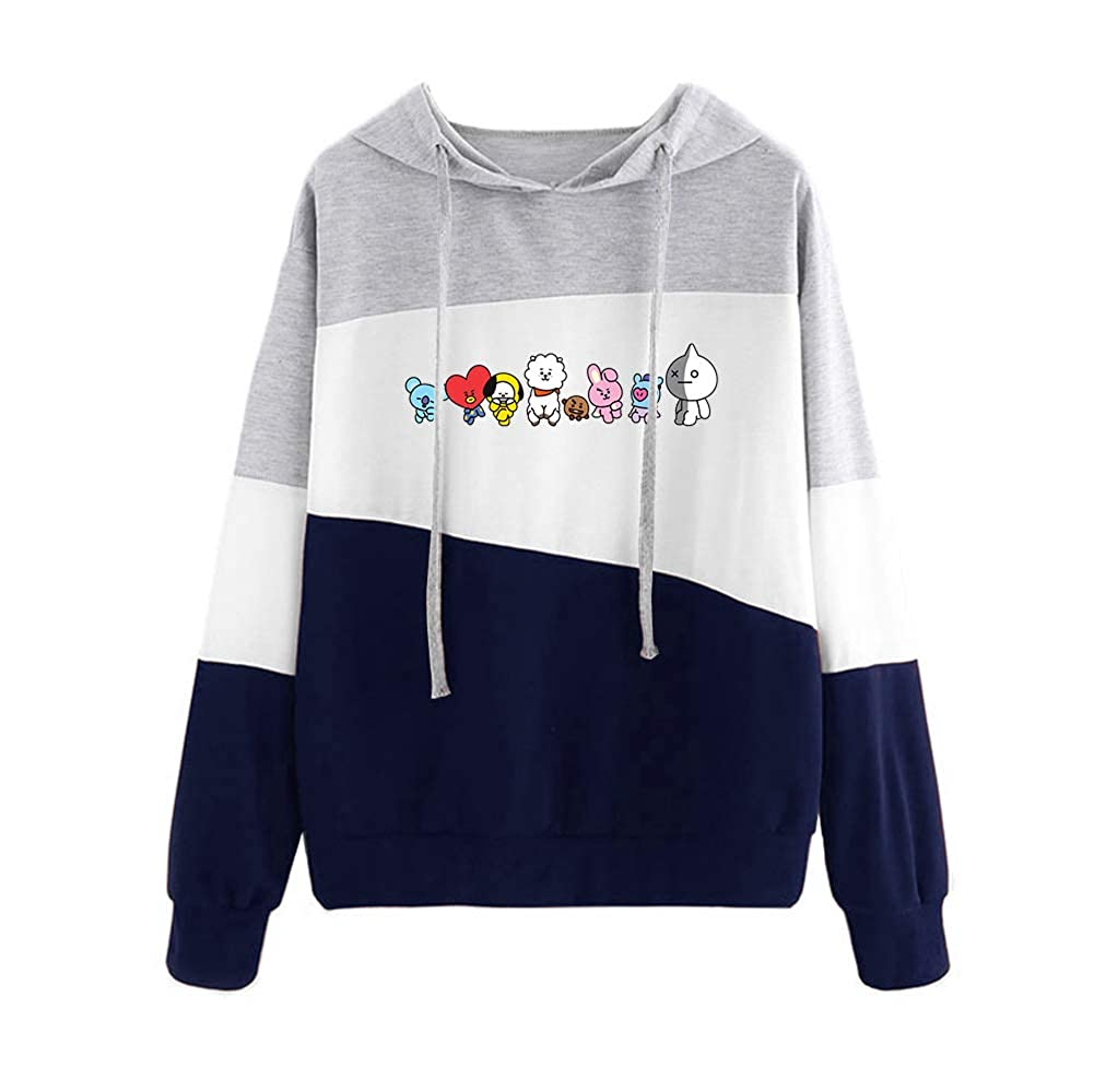AILIENT BTS Pullover Womens Long-Sleeve Hooded Solid Color Striped Stitching Fashion Trend Sweater Pullover Unisex