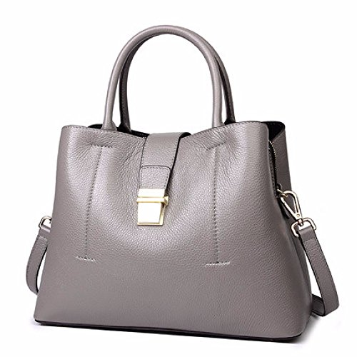 Tracolla Casual Borsa Pelle A Elegante Di Grande Shopping Capacità Viaggio In Grey Moda Da Donna Ox5qwA4