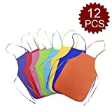 Opromo 12 Pack Non-Woven Fabrics Unisex Colorful Kids Apron for DIY Painting Artist Available in Two Sizes(S/M)-Assorted-M