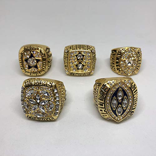 Set of 5 Dallas Cowboys Super Bowl VI, XII, XXVII, XXVIII, XXX Replica Ring-Various Sizes Gold Color Collectible 1971 1977 1992 1993 1995 Aikman, Staubach, Irvin USA SHIPPER