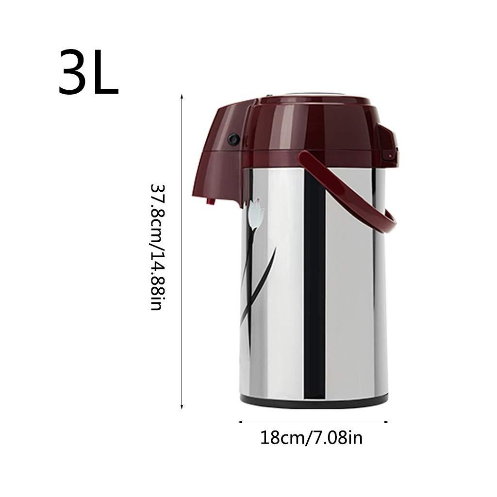 NJYT Pneumatische Thermoskanne Thermoskanne Thermoskanne Doppelwandige Isolierung Glasliner 3L Große Kapazität Pumpkanne Isolationstopf Saft Milch Tee Kaffee Getränke (Farbe   Rosa) B07PWG8RY1 Thermosspeisebehlter 584890