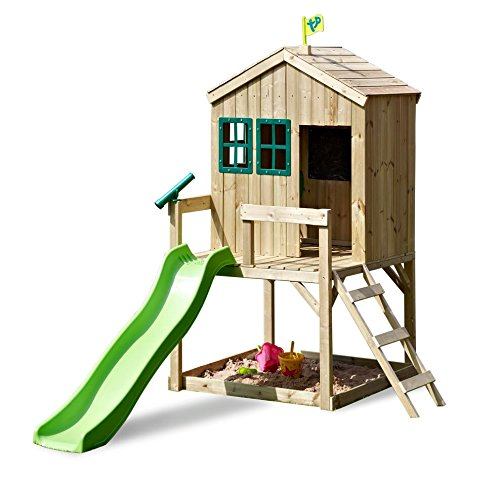 TP Toys Forest Cottage Wooden Playhouse and 6FT Wavy Slide With Sandpit