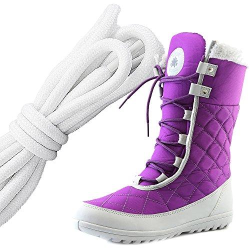 Dailyshoes Confort Des Femmes Bout Rond Mi-mollet Cheville Plat Haute Eskimo Fourrure Dhiver Bottes De Neige, Blanc Noir Violet