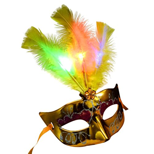 Gbell Women Venetian LED Mask, Masquerade Fancy Dress Party Princess Feather Masks (Yellow)