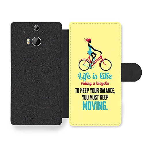 a Bicycle Albert Einstein Life & Love Inspirational Quote Faux Leather case for HTC One M8 ()