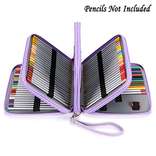 BTSKY160 Slots Colored Pencil Case- Deluxe PU Leather Handy Pencil Holder Organizer Zipper Pencil Box Large with Handle Strap for Colored Pencils Watercolor Pencils(Purple)