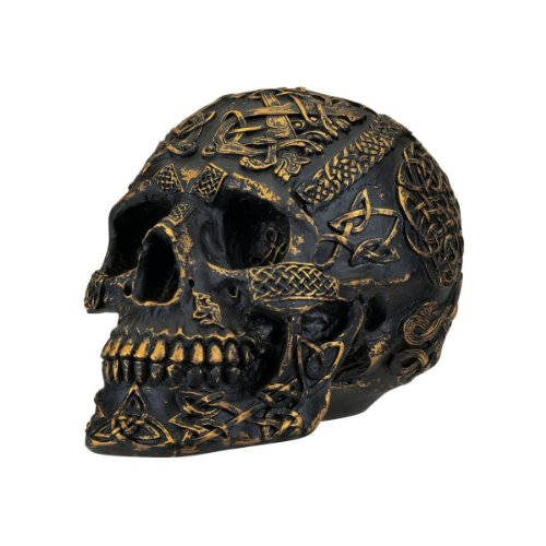 Design Toscano Passage of Life Skull Celtic Knot Gothic Statue, 8 Inch, Polyresin, Black and Gold
