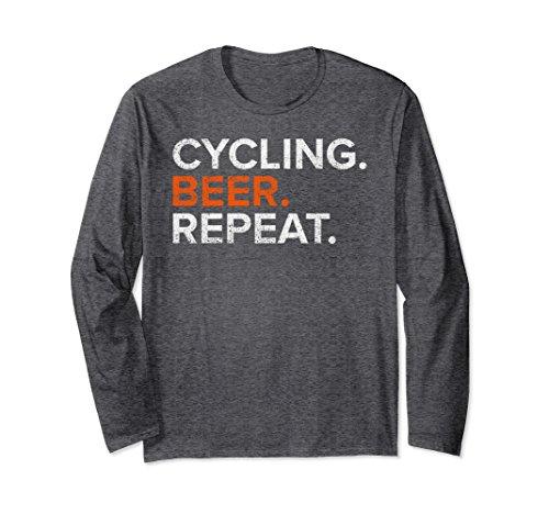 Unisex Vintage Cycling Beer Repeat Funny Long Sleeve T-Shirt Medium Dark Heather