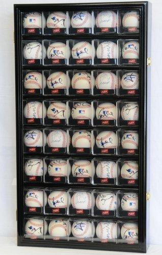 40 Baseball Arcylic Cubes Display Case Cabinet Holders Rack w/ UV Protection, Black