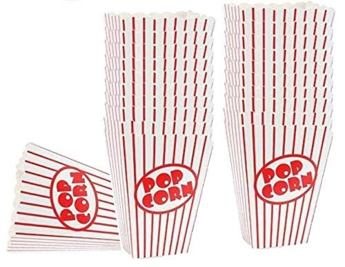 Movie Theater Small Popcorn Boxes - Paper Popcorn Boxes Striped Red and White - Great for movie night or movie party theme, theater themed decorations or Carnival party circus etc. (40 Boxes) -