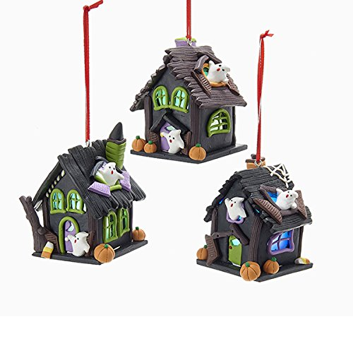 Kurt Adler 1 Set 3 Assorted Battery Operated LED Haunted House Halloween Clay Dough Ornaments