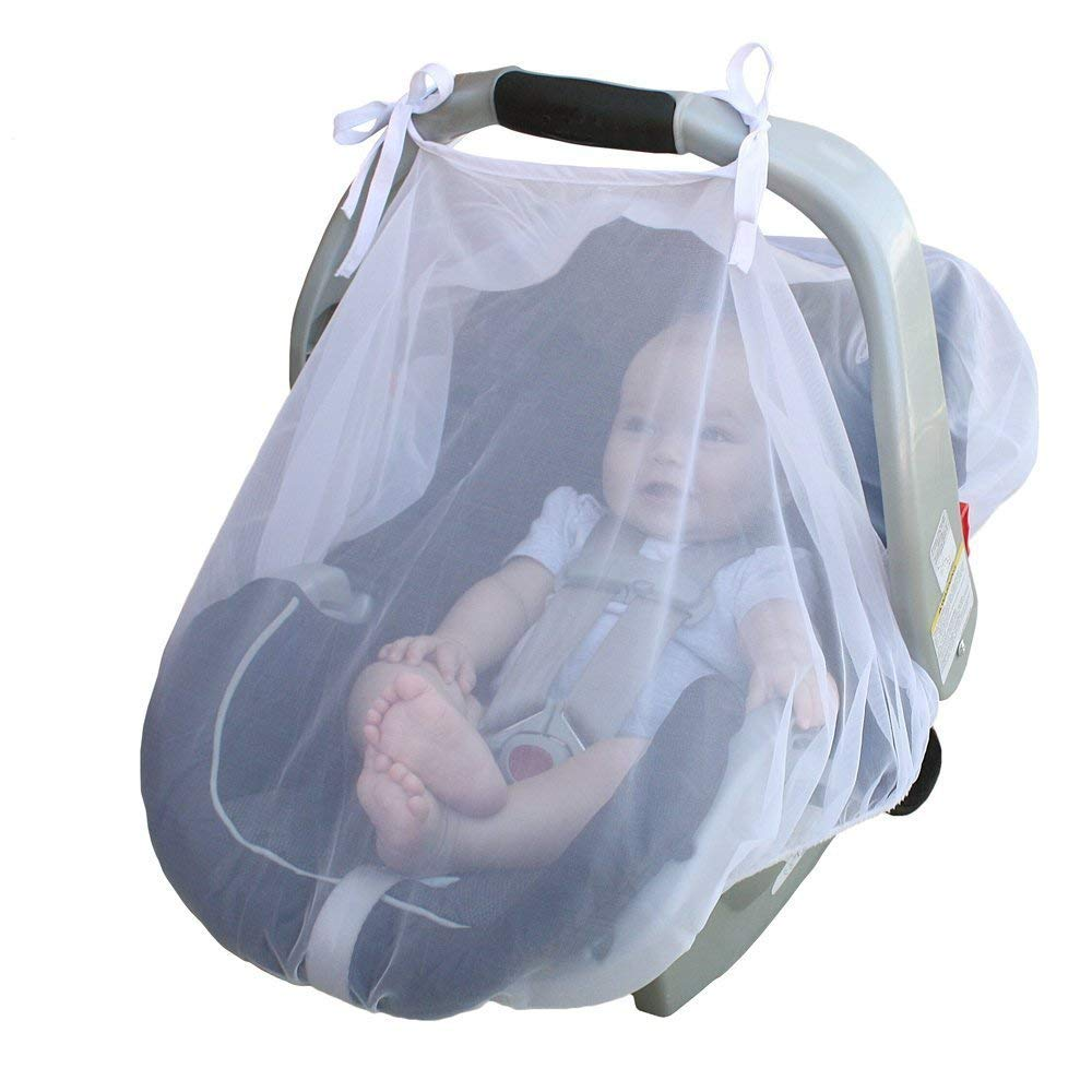 Baby Carriage Cover Anti-Mosquito Net Breathable Cool Encrypted Ultra Dense Mesh Soft Baby Car Cover Bug Insect Netting Infant Carriers Car Seats Cover Cradles NCTECHINC