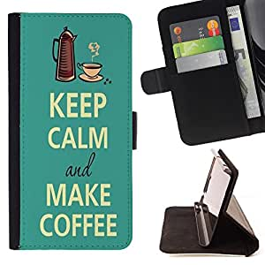 King Case - FOR Samsung Galaxy S4 IV I9500 - Keep Calm And Make Coffee - Prima caja de la PU billetera de cuero con ranuras para tarjetas, efectivo Compartimiento desmontable y correa para la mu?eca