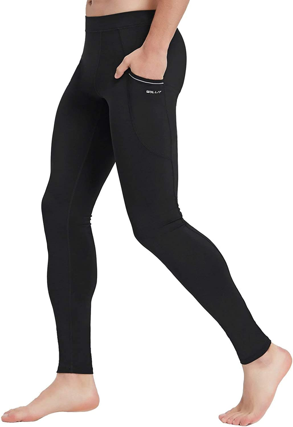 Willit Mens Active Yoga Leggings Pants Dance Tights Side Pockets Gym Training Workout Pants Quick Dry