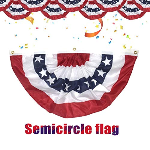 MAMOIU USA Pleated Fan Flag, 1.5x3 Feet American USA Bunting Decoration Flags Printed Patriotic Stars & Stripes with Brass Grommets