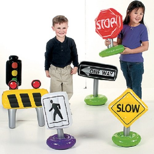 Lot of 6 Inflatable Traffic Stop One Way Signs Kids Toys ()