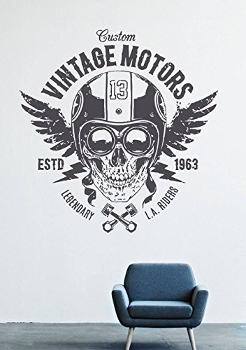 Wall Decals Mural Vinyl Decor Skull Headphone Flag Piston 1963 Points Vintage Motors GMO0128
