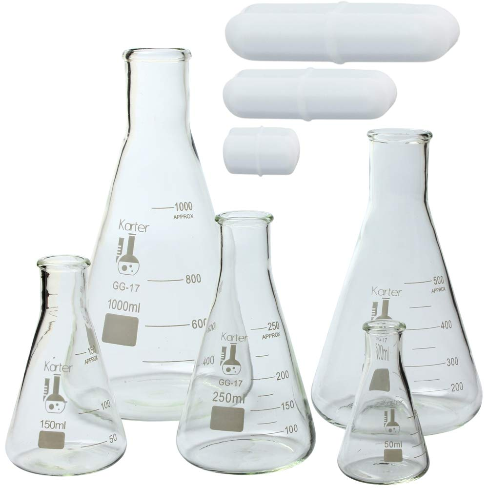 18 X 150mm Size MHB LB43-SET//6 Test Tube Set 6 Glass Test Tubes with Rubber Stoppers and Rack