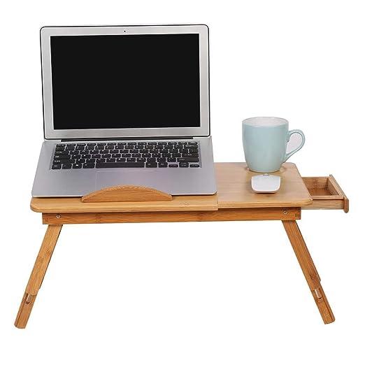 EBTOOLS Mesa para Ordenador Portátil de Bambú, Mesa de Cama para ...