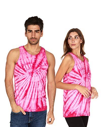 Tie Dye Tank Top Men Women - Fun Bright Colotful Tops, Spider Pink, X-Large