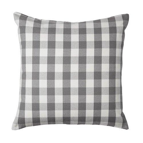 "Ikea Smanate 20"" x 20"" Gray & White Gingham Cushion Cover -"