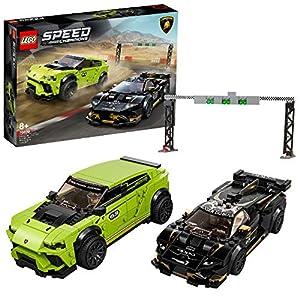 LEGO Speed Champions - Lamborghini Urus ST-X e Lamborghini Huracán Super Trofeo EVO con due Minifigure, Set di Costruzioni per Ragazzi +8 Anni, 76899  LEGO