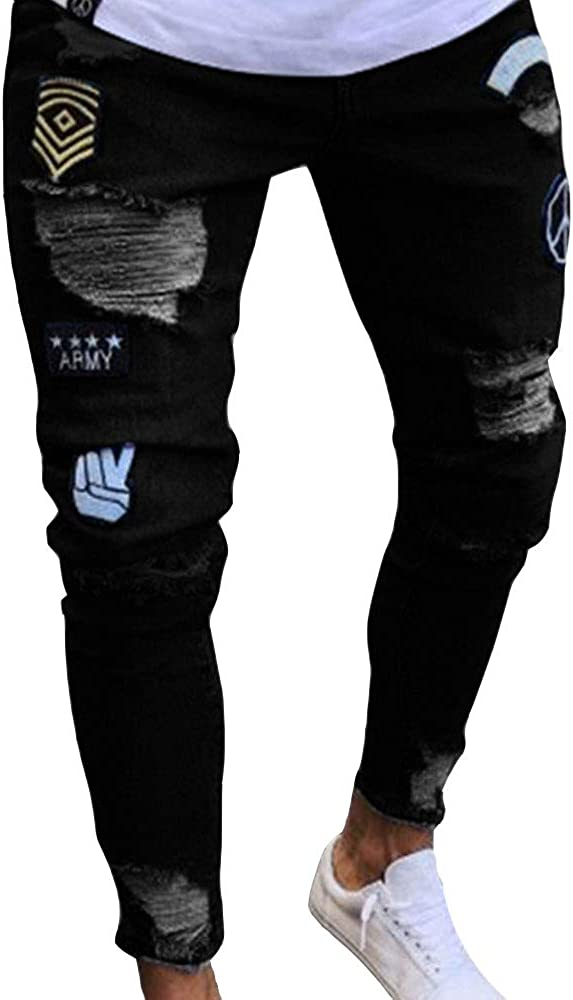 Men's Distressed Slim Denim Pants Hip Wor Hop Ripped Holes Patch Max 61% discount OFF