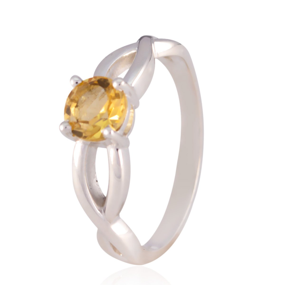 Home d/écor Good Selling Shops Gift for Childrens Day Dainty Ring Lucky Gemstone Round Faceted Citrine Rings Solid Silver Yellow Citrine Lucky Gemstone Ring