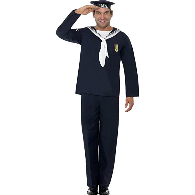 1940s Men's Costumes: WW2, Sailor, Zoot Suits, Gangsters, Detective Smiffys Mens Naval Seaman Includes Hat Top and Trousers $37.22 AT vintagedancer.com