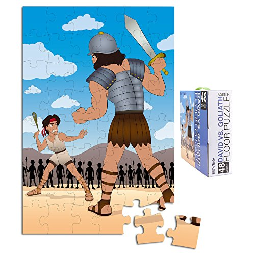 Floor Puzzles for Kids - 48-Piece Giant Floor Puzzle, David and Goliath Jumbo Jigsaw Puzzles for Toddlers Preschool, Toy Puzzles for Kids Ages 3-5, 2 x 3 Feet