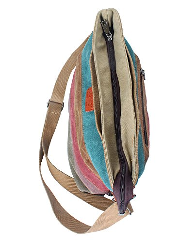 vertical Casual Colorful Shoudler Crossbody Handbags Womens Canvas Stripe tm Tote colorful Niceeshop Bag On6FqvC