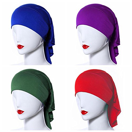 Ksweet 4pcs Stretch Elastic Hijab Cap for Women Summer Underscarf Tube Cap Head Cover Scarf (Green+Blue+Red+Purple)
