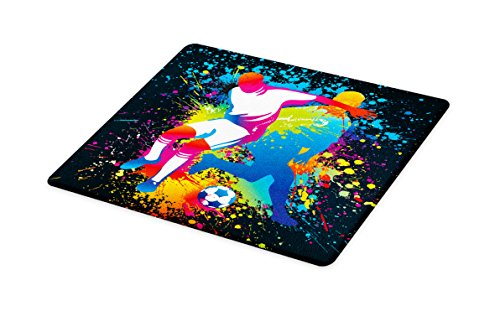 Lunarable Boy's Room Cutting Board, Artistic Composition Two Soccer Players Competing Ball Color Splashes Stains, Decorative Tempered Glass Cutting and Serving Board, Large Size, Multicolor by Lunarable