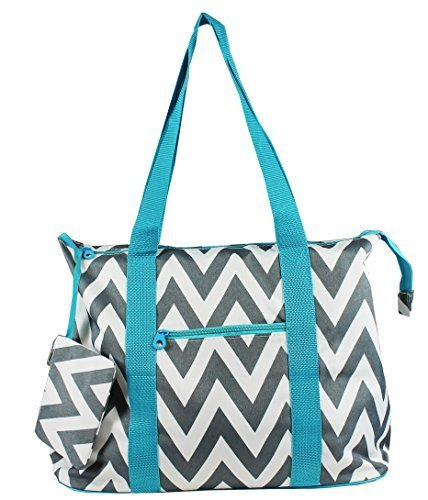 (Grey Chevron Prints w/Blue Trim - Large Roomy Canvas Tote Beach Bag W/Attached Coin Purse)