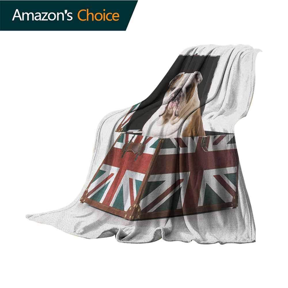 English Bulldog Summer Blanket,Cute Bulldog Sitting in Union Jack Britain Themed Box Patriotic Design Microfiber All Season Blanket for Bed or Couch Multicolor,50'' Wx60 L Multicolor
