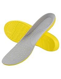 SOUMIT Sports Insole, Shock Absorption PU Foot Pads with Heel Cushion for Walking Running Hiking (L EU42-44/ UK8-9.5)
