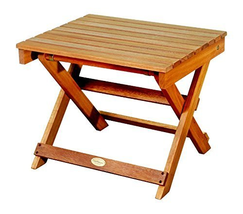 LuuNguyen Outdoor Hardwood Folding Side Table, Natural Wood Finish (Folding Wooden Outdoor Table)