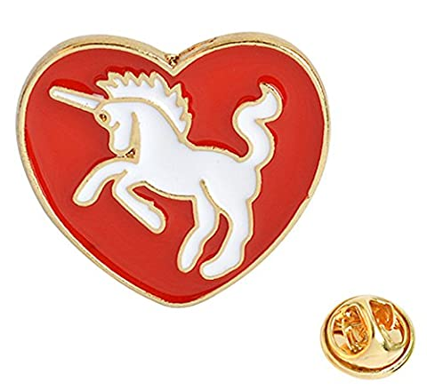 Brand New Red and White Unicorn Heart Enamel Lapel Pin (Button Pins Beyonce)