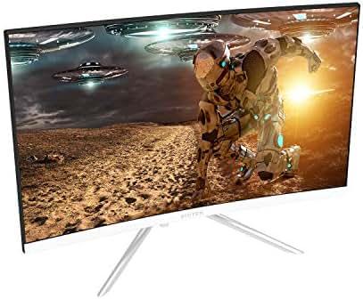 Viotek GN24CW 24-Inch Curved Gaming Monitor with Speakers, 1080P 144Hz Bezel-Less Samsung VA Panel, 2 x HDMI DisplayPort FreeSync – VESA (White)