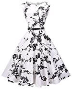 VOGVOG Women's Audrey Hepburn Sleeveless Plus Size Vintage Tea Dress with Belt