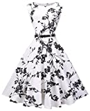 VOGVOG Women's Audrey Hepburn Sleeveless Plus Size Vintage Tea Dress with Belt,Floral,X-Large