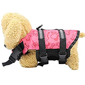 Big Promotion!!Farjing Pet Products Outward Adjustable Doggy Life Jacket With Rescue Handle(L,pink)