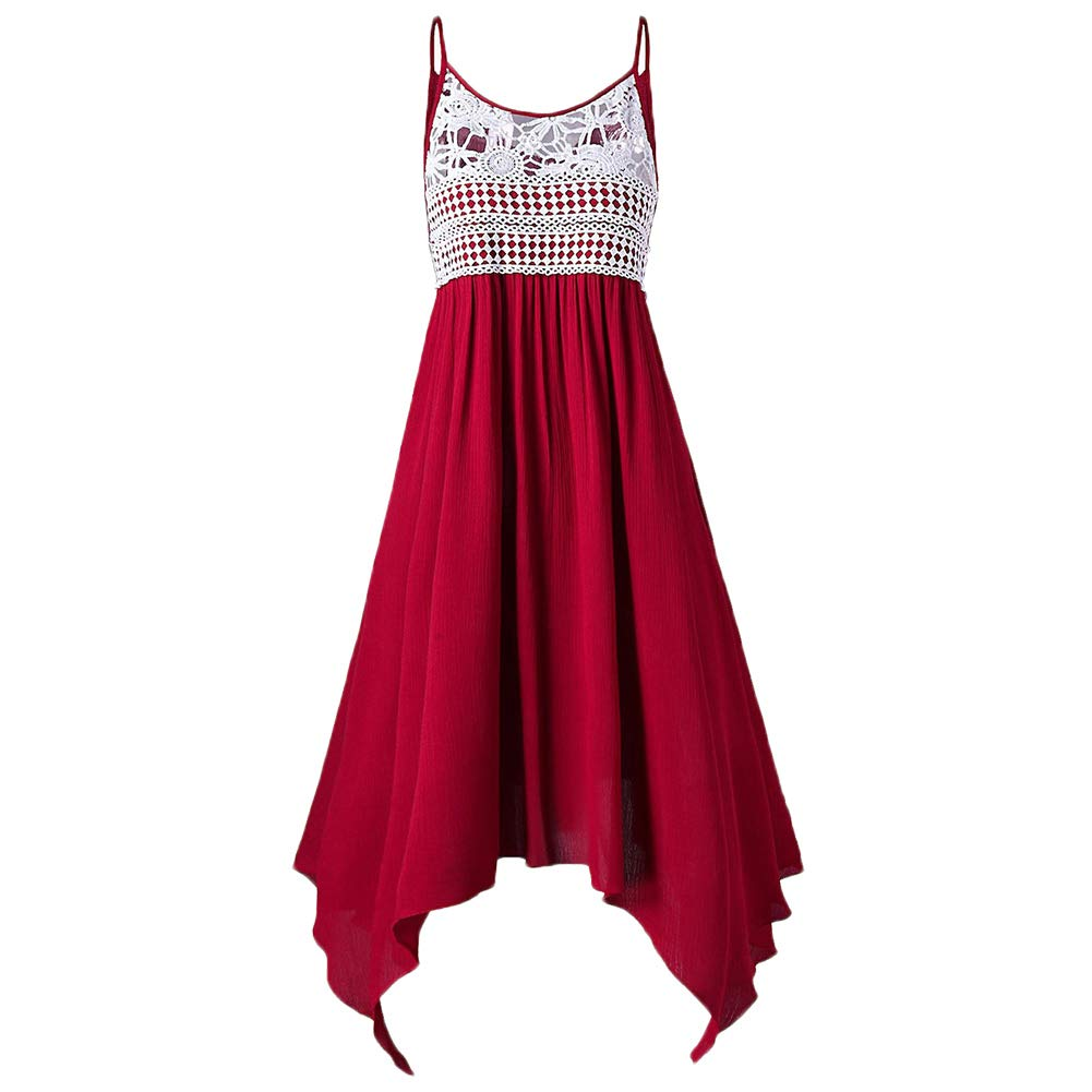 Women Fashion Dress Causal Loose Sling Dress Dresses Glomixs Women One-Pieces Dress Lace Solid Color Sling Dress for Summer