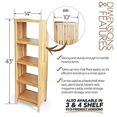 ToiletTree Products Deluxe Bathroom Bamboo Freestanding Organizing Shelf.
