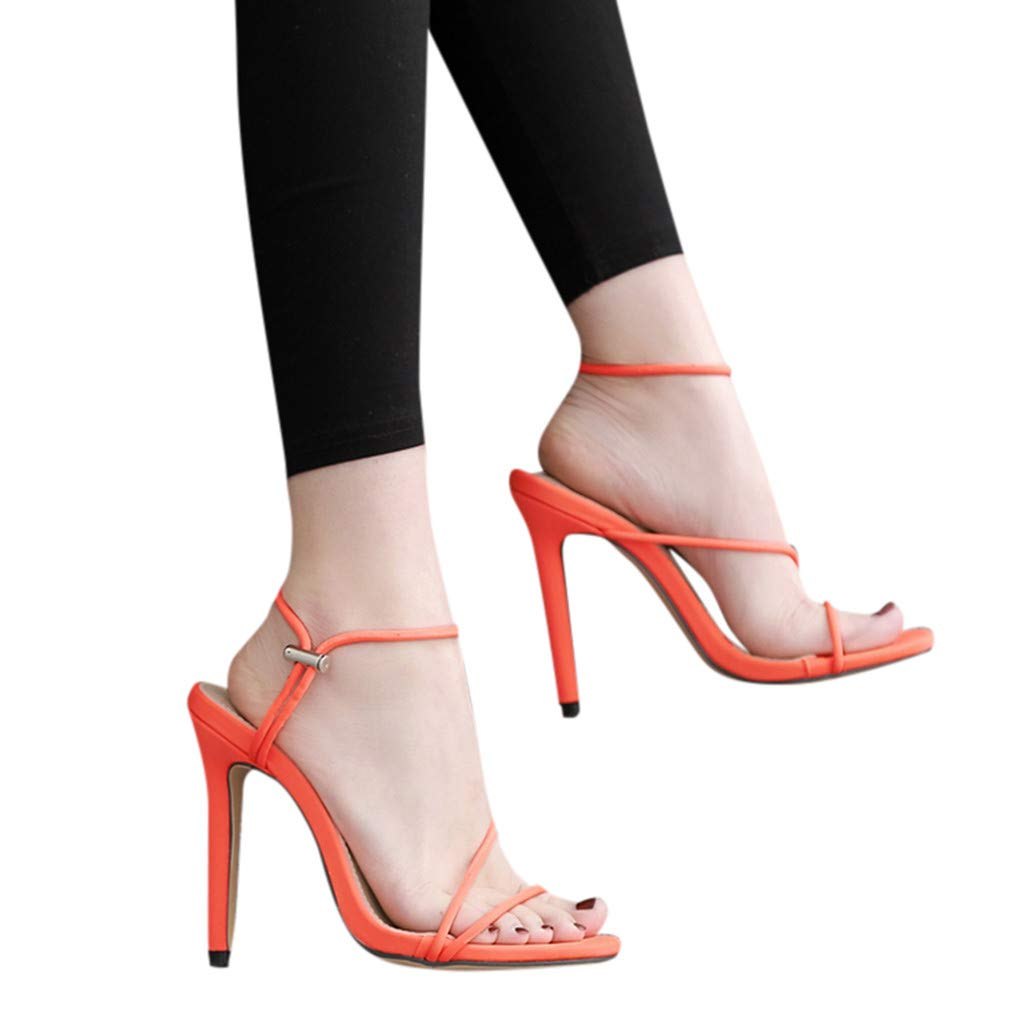 Women Shoes,Womens Ladies Fashion Candy Color Pointed Toe Thin High Heel Sandals Shoes