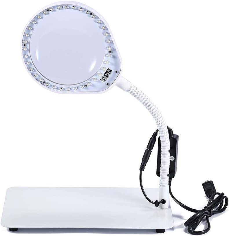 JoyUtoy Laptop Flexible Magnifier LED Desk Lamp USB Cabled, Powerful 3x5x8x10x Magnifying Glass, Smoothly Adjustable and Extra Bright LED Lights (10X, White)