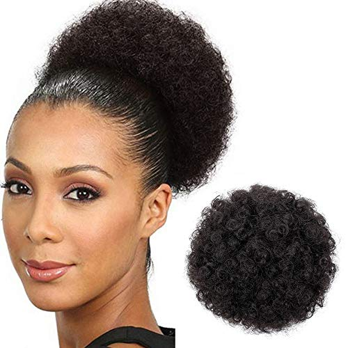 - AISI QUEENS Afro Puff Drawstring Ponytail for Black Women Curly Hair Ponytail Extension, Black Brown Afro Bun Ponytail Clip on Hair Extensions for Black Women (2#)