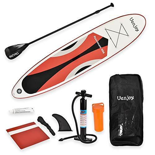 Uenjoy 11' Inflatable Stand Up Paddle Board (6 Inches Thick) Non-Slip Deck Adjustable Paddle Backpack,Pump, Repairing kit, Red