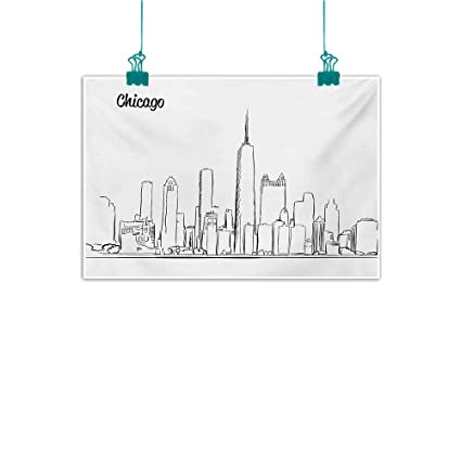 Amazon com: Abstract Art Oil Painting Chicago Skyline Hand