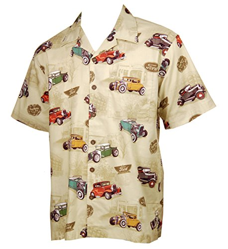 - David Carey Ford Model A Cars and Hot Rods Hawaiian Camp Shirt, (M) Tan